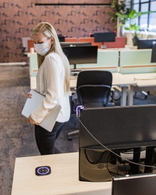 GoBright Work - Desk Booking - Hygienic Desk - Clean Desk - Purple